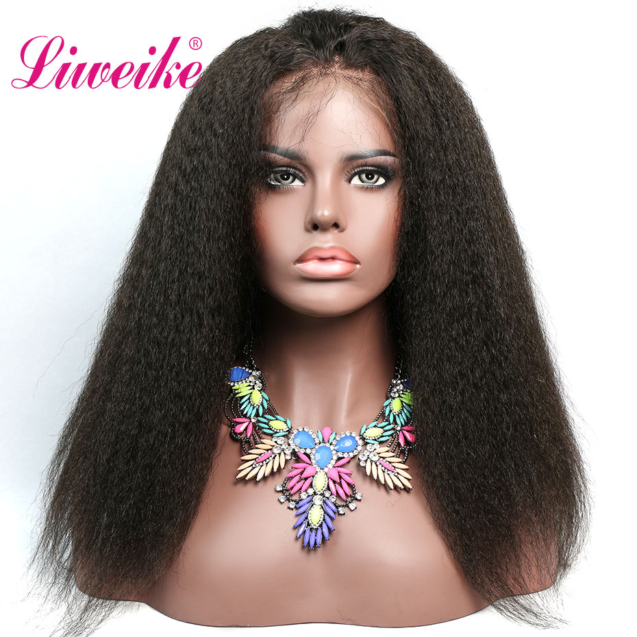 Liweike Kinky Straight Lace Front Human Hair Wigs For Women Glueless Full Ends Brazilian Remy Hair