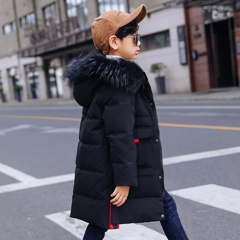 Image 3 -  30 Degree Thick Warm Down Jackets Winter Boys Duck Down Coats Children Natural Fur Long Outerwear Kids Hooded Clothes 7 12 year-in Down & Parkas from Mother & Kids