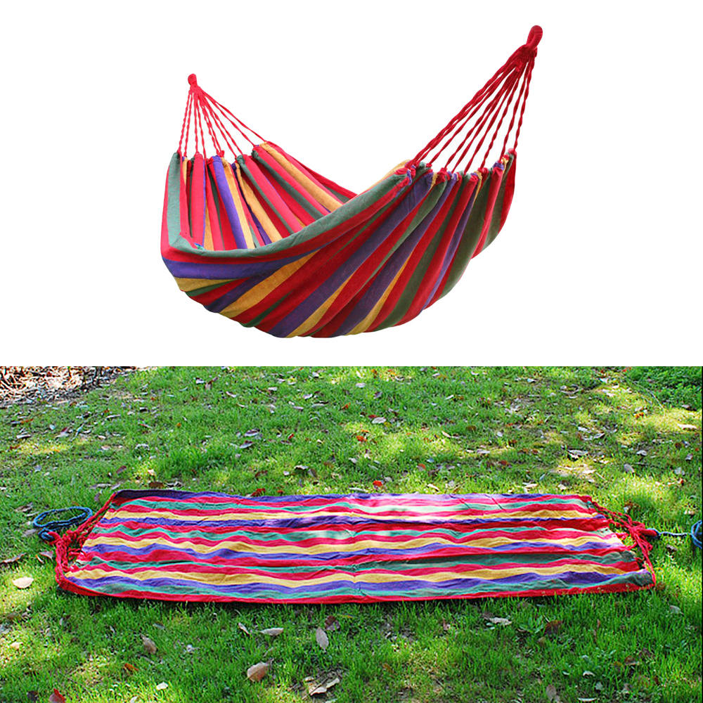 Red Stripes Hammock Cotton Rope Outdoor Swing Fabric Camping Hanging Canvas Bed