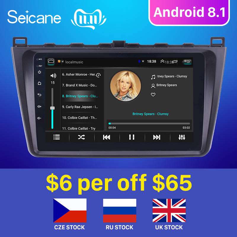 Seicane Android 8.1 2DIN Car Head Unit Radio Audio GPS Multimedia Player For <font><b>Mazda</b></font> <font><b>6</b></font> Rui wing 2008 2009 <font><b>2010</b></font> 2011 2012 2013 2014 image