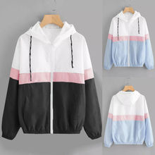 Womens Ladies Block Windbreaker Long Sleeve Contrast Hooded Jacket Coat Top men contrast tape hooded top with shorts
