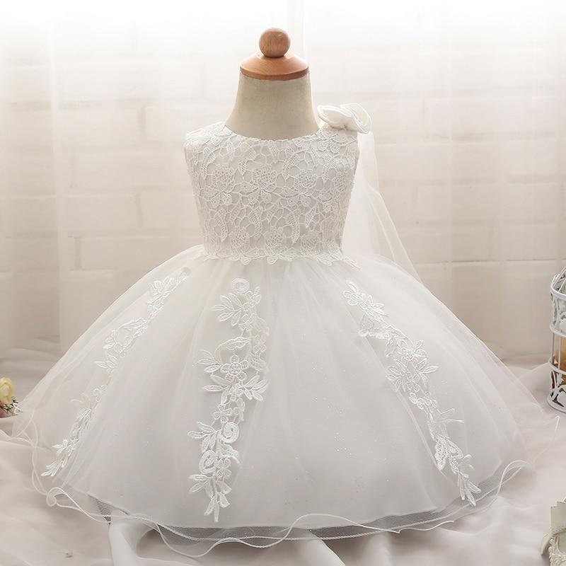 Vestido da menina do bebê roupas recém-nascidos vestidos de baile princesa 1 ano de aniversário menina roupa 6 meses recém-nascido baptismo branco