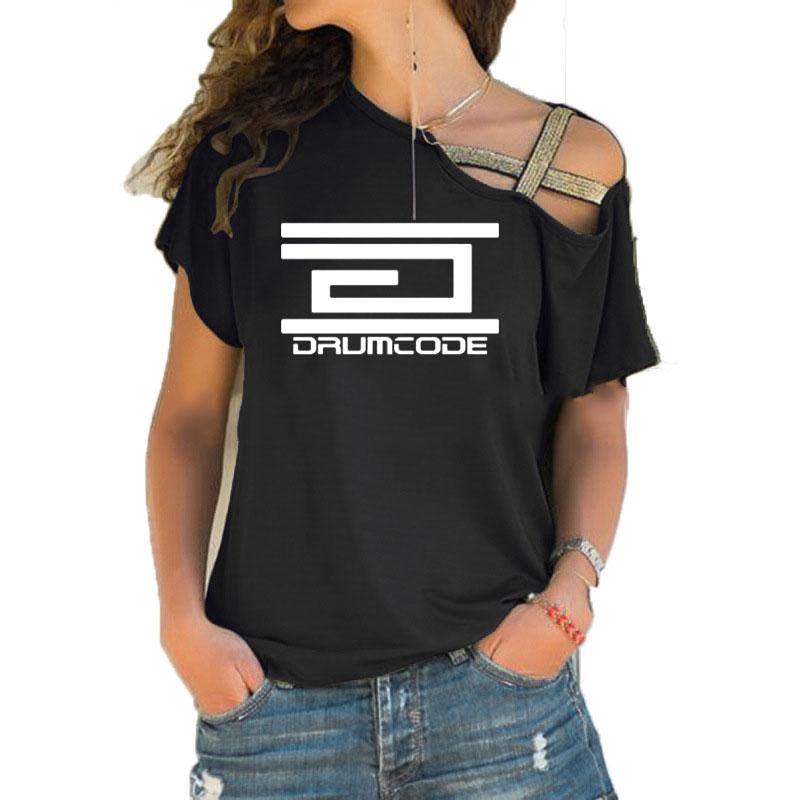 Drumcode Records,Adam Beyer,Swedish Techno,Slam,Joey Beltram,Maceo Plex Shirt Plus Size Irregular Skew Cross Bandage T-shirt