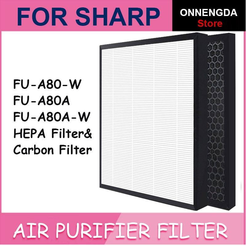 2 шт. FZ-A80SFE запасные HEPA угольные фильтры для острых FU-A80-W /FU-A80A / FU-A80A-W FZ-A80HFU/FU-A80JW части воздухоочистителя