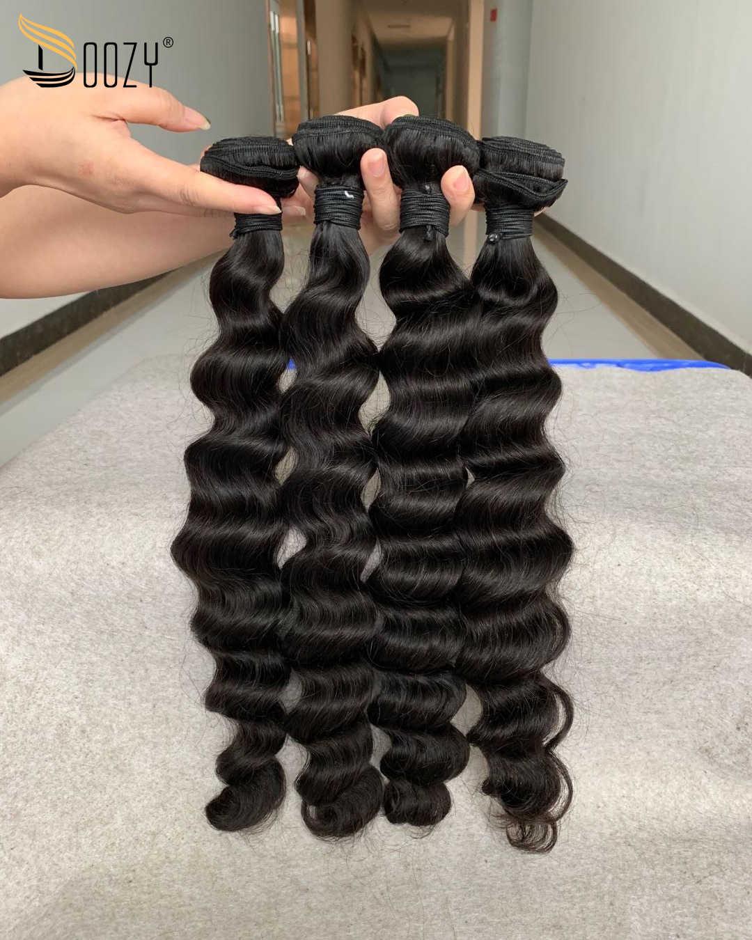 Doozy suelta pelo virgen brasileño profundo 3 paquetes de Color Natural 10A cabello humano virgen