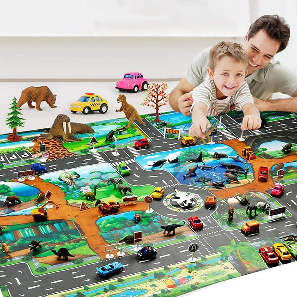 130*100cm Large City Traffic Car Park Play Mat Waterproof Non-woven Kids Playmat Pull Back Car Toys Children's Mat Baby Gym