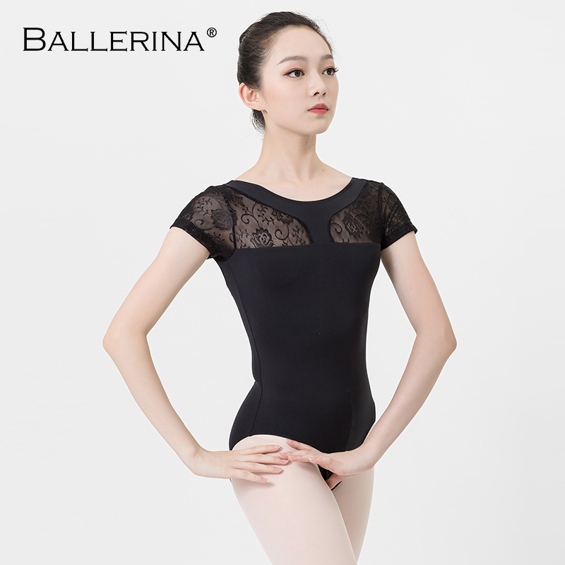 Women Ballet Leotard Dance Costume Aerialist  Yoga Girls Short Sleeve Lace Mesh Gymnastics Leotars Ballerina 3509