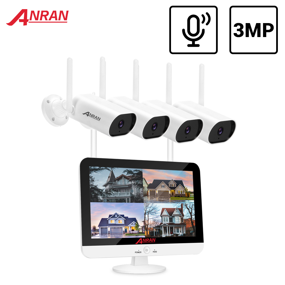 ANRAN Video gözetim kiti 3MP ses kayıt CCTV sistemi kablosuz güvenlik kamerası sistemi 13 inç monitör NVR su geçirmez