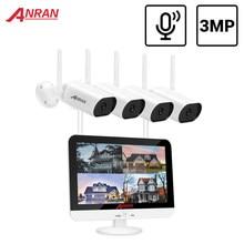 Anran kit de vigilância de vídeo 3mp gravação de áudio sistema de cctv sistema de câmera de vigilância sem fio monitor de 13 polegadas nvr à prova dnvr água
