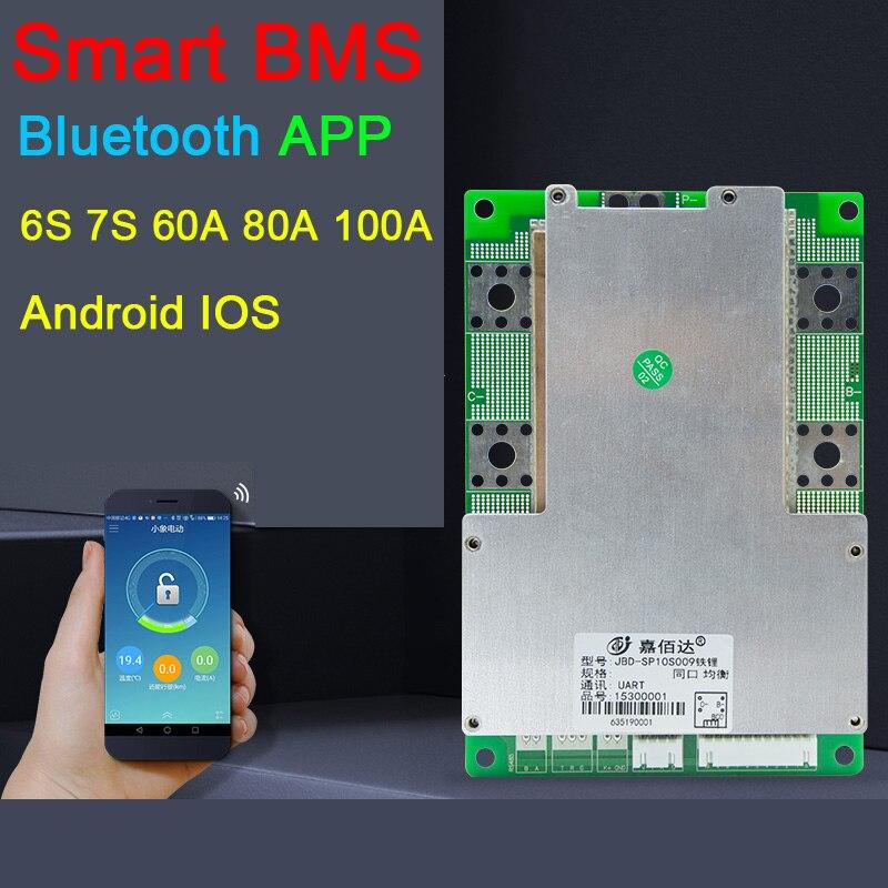 7S 6S 24V Smart Liion Lithium Battery Protection Board PC Phone Bluetooth APP 60A 80A 100A Li-ion Lipo BMS Packs Balance JBD