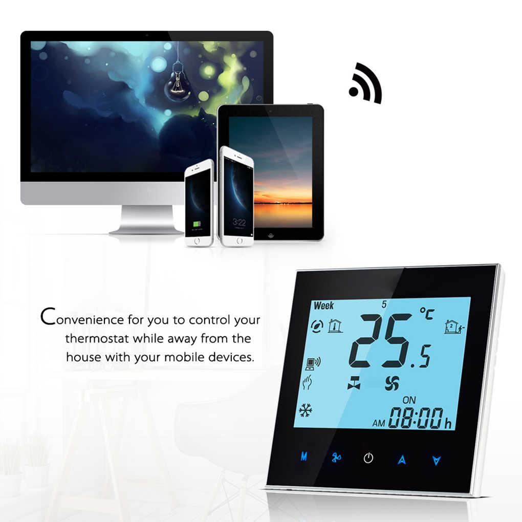 WiFi שלט רחוק מזגן מרכזי טמפרטורת בקר 2 צינור לתכנות תרמוסטט LCD מסך מגע 24V
