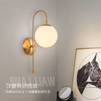 Modern Nordic Glass Meta Black/gold Ball Retro Vintage Wall Lamp E27 Loft For Cafe Bedroom Foyer hanging lamp