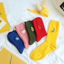 Bonito dos desenhos animados colorido fruta impressão banana cereja pêssego meninas adorável meias coreano bordado unisex meias de algodão alta elástica
