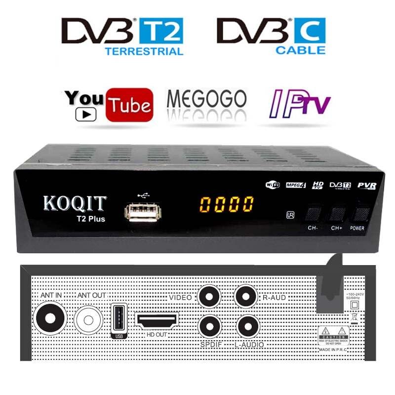 Décodeur gratuit DvbT2 Tv tuner câble récepteur DVB T2 avec youtube Megogo dvb-c Dvb-t2 boîte de télévision numérique USB Wifi IPTV m3u Player AC3