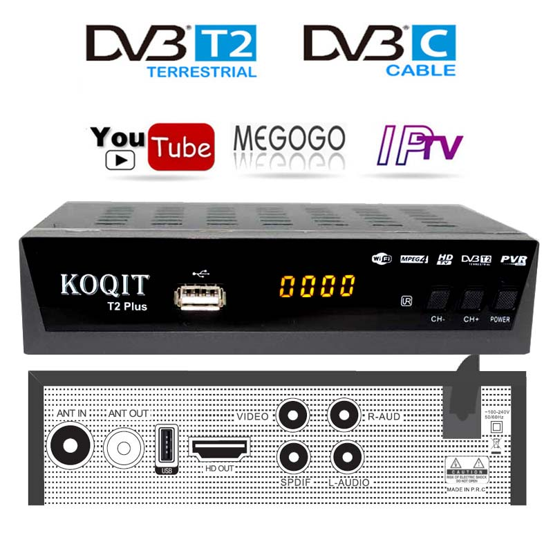 Free Decoder DvbT2 Tv Tuner Cable Receiver DVB T2 With Youtube Megogo Dvb-C Dvb-t2 Digital TV Box USB Wifi IPTV M3u Player AC3