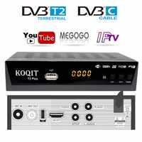Free Decoder DvbT2 Tv tuner Cable Receiver DVB T2 With youtube Megogo Dvb-C Dvb-t2 Digital TV Box USB Wifi IPTV m3u Player AC3