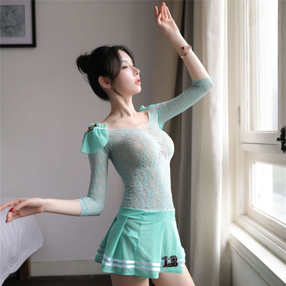 Erotic Cosplay Costumes Sexy Transparent Lingerie Long Sleeves Dress Women Intimates Chemise Porn Pajamas Adult Sex Products