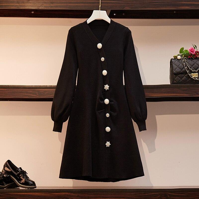 Plus Size Elegant Knitted Sweater Dress Women Pearl Button Lantern Sleeve Knitting Dress 2019 Autumn Winter A Line Black Dress