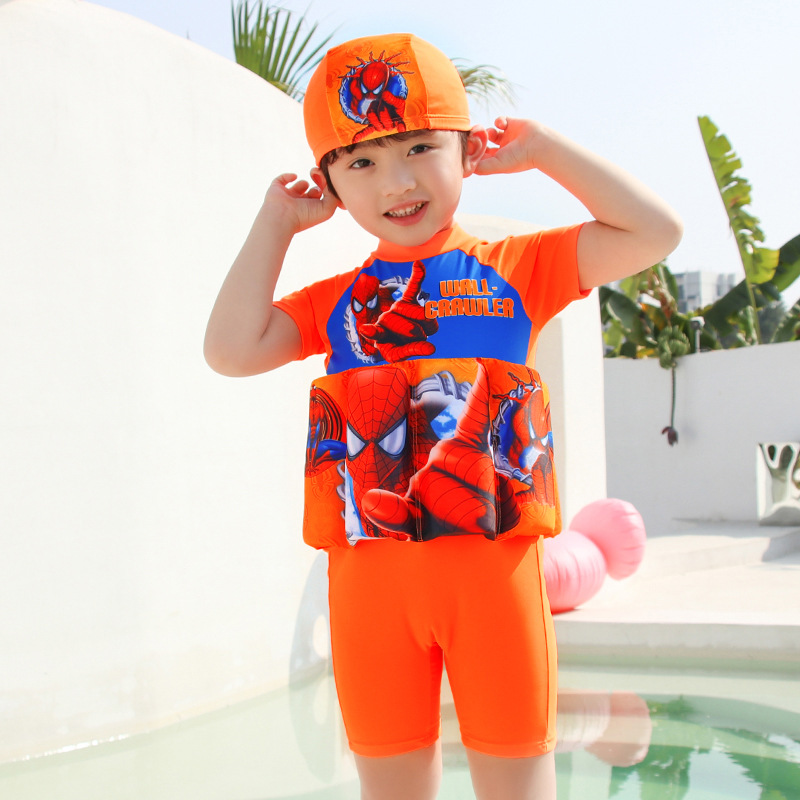 Send Hat Two-Piece Set South Korea 2019 New Style Hot Springs Short Sleeve Cartoon BOY'S One-piece Swimsuit For Children Boy Big