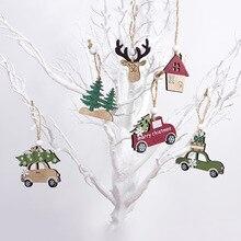 New Year 2020 Natural Wood Christmas Tree Ornament Wooden Pendant Xmas Gift Noel Decoration for Home Navidad 2019 Drop