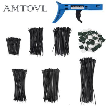 AMTOVL na 600 sztuk trytytka zestaw odporny na UV 100 150 200 300 (100 w opakowaniu) + 100 sztuk trytytka uchwyt na krawat + narzędzie trytytka tanie i dobre opinie CN (pochodzenie) inne Releasable cable tie set Plastic