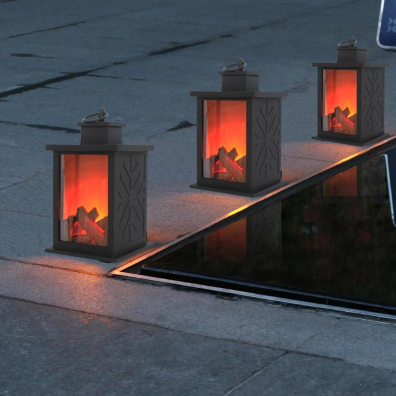 Portable Simulated Fireplace LED Flame Lantern Lamps Simulated Fireplace AA Battery Courtyard Hang Light Night Room Decor