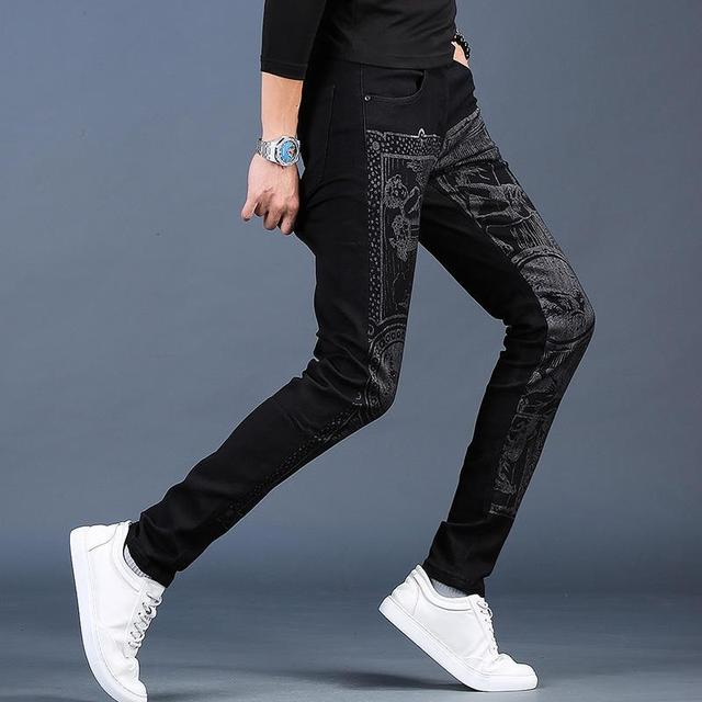 Free shipping new fashion male Men's printed plus velvet jeans thick casual slim feet pants Korean winter trousers 99% cotton 24