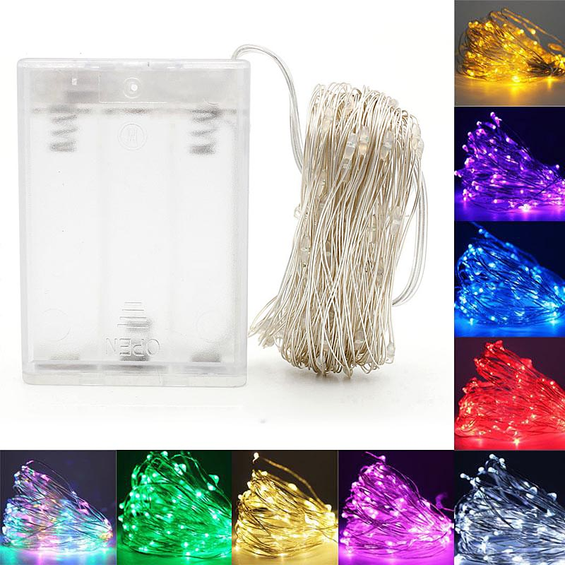 2M 3M 5M 10M 100 LEDS Starry String Battery Lights Fairy Micro LED Transparent Copper Wire For Party Christmas Wedding 5 Colors