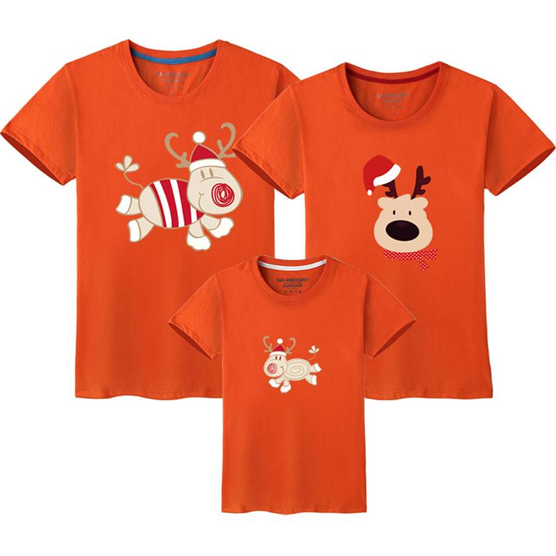 Семейный костюм для папы, мамы и ребенка; одинаковые рождественские комплекты для семьи; футболка для мамы и дочки; одежда с короткими рукавами для папы и сына - Цвет: Orange