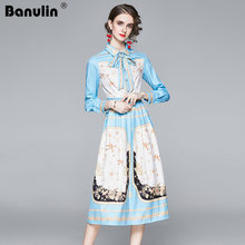 Женское платье с длинным рукавом banulin повседневное винтажное