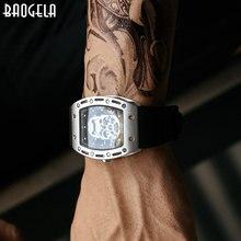 Baogela – bracelet militaire en Silicone pour hommes, cadran Rectangle, crâne, visage, Sport, montres à Quartz