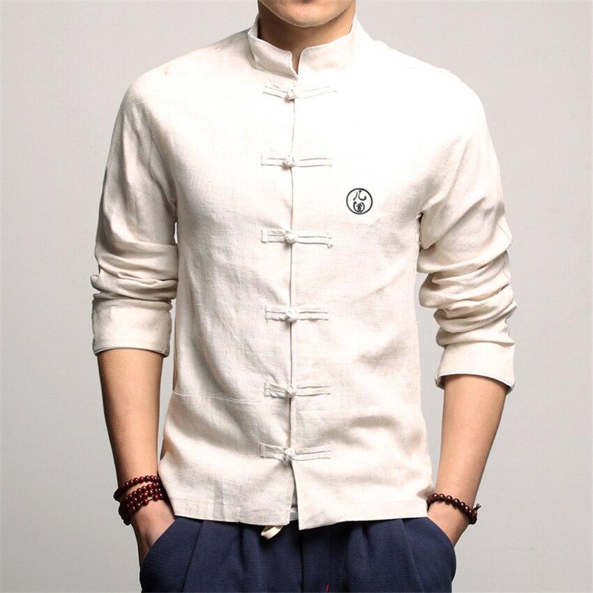 Vêtements traditionnels chinois pour hommes Vintage col à manches longues chemises en lin Tang costume Hanfu chine Style haut nouvel an vêtements