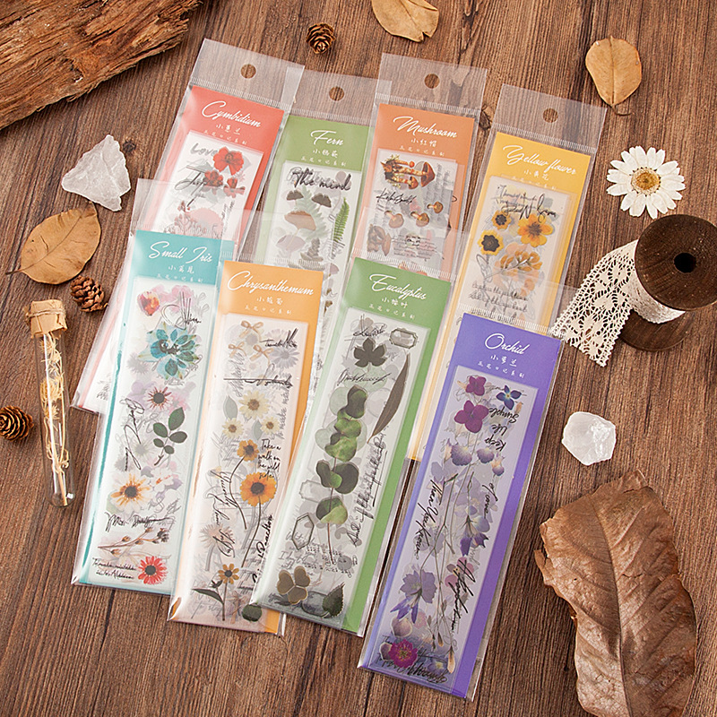 10 Pcs/set Vivid Plants Flowers PET Decorative Stickers DIY Bullet Journal Sticker Diary Decorative Stationery Scrapbooking