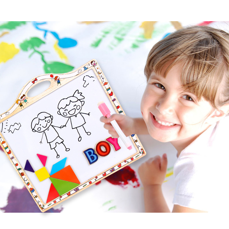 Children Magnetic Drawing Board With Numbers Lettered Magnetic Stickers Small Kindergarten Water-based Paint Pen Doing Homework