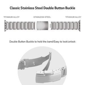 Image 4 - Pulseira de liga de titânio para apple watch band 38mm 42mm metal pulseira de pulso três links pulseira para apple assistir série 1 2 3 4 5