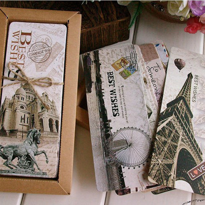 30 Pcs/set Beautiful European Scenery Paper Bookmarks Creative Vintage Paris Tower Bookmark School Office Supplies
