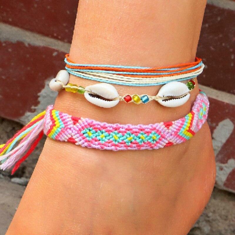Meetvii Bohemian Colorful Waterproof Wax Rope Anklets Set for Women Girls Woven Beach Shell Charm Leg Bracelet Foot Jewelry