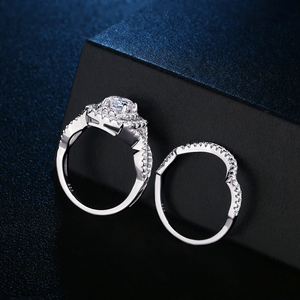 Image 3 - Newshe 2Pcs Wedding Ring Sets Classic Jewelry 1.9Ct AAA CZ Genuine 925 Sterling Silver Engagement Rings For Women JR4844