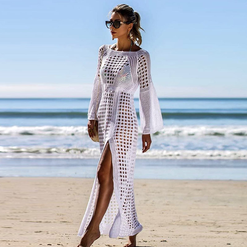2019 Crochet White Knitted Beach Cover up dress Tunic Long Pareos Bikinis Cover ups Swim Cover up Robe Plage Beachwear outfits para playa mujer 2019