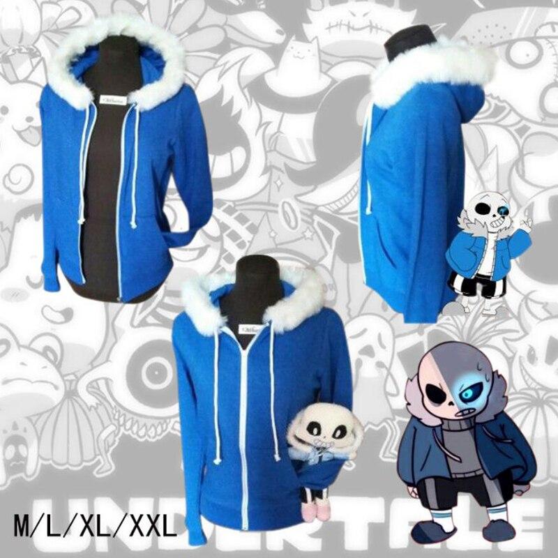 Sans Undertale Hoodies Cosplay COOL Latex Mask SKELETON jacket plus velvet hooded sweatshirt sweater animation game(China)