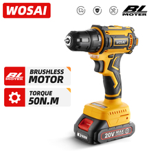 WOSAI 20V Brushless Electric Drill 50NM Cordless Screwdriver Lithium-Ion Battery Mini Electric Power Screwdriver MT-Series Tools