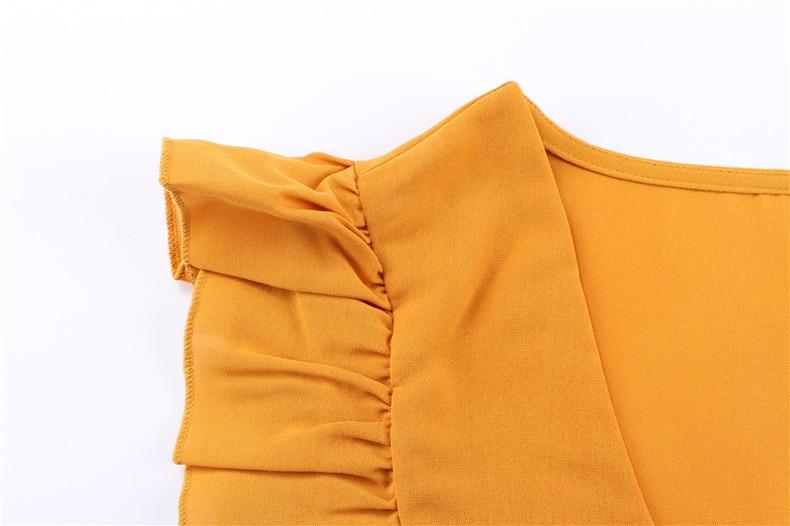 Ruffle Off Shoulder High Waist V Neck Casual Boho Beach Yellow Dress 5