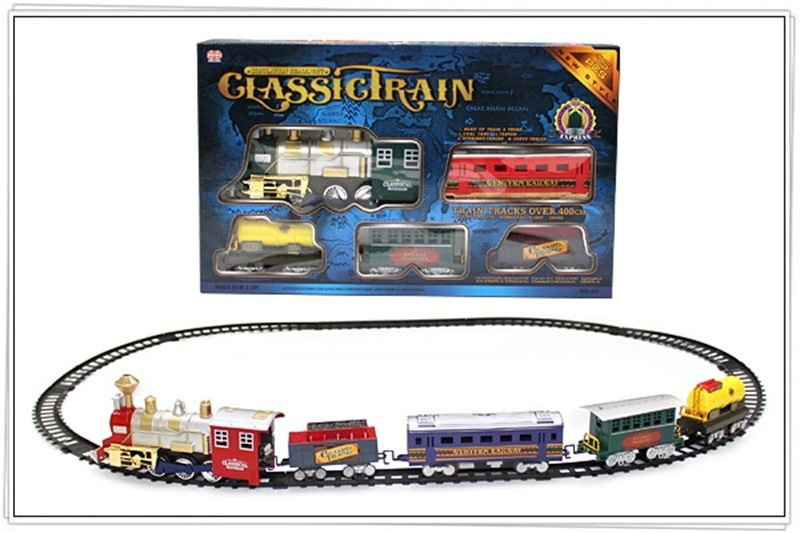 Christmas Gift CHILDREN'S Electric Toys Lights Will Smoke Model Classical Steam Train Rail Car Hot Selling
