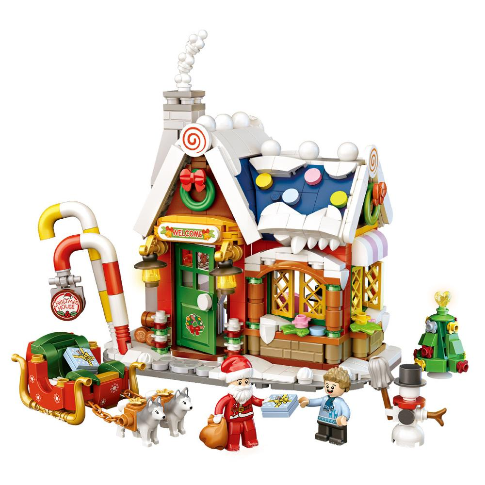 2021 создатель города зимняя деревня Санта Клаус Рождественская елка рождественский подарок Фабричный мини конструкторных блоков, Детские к...