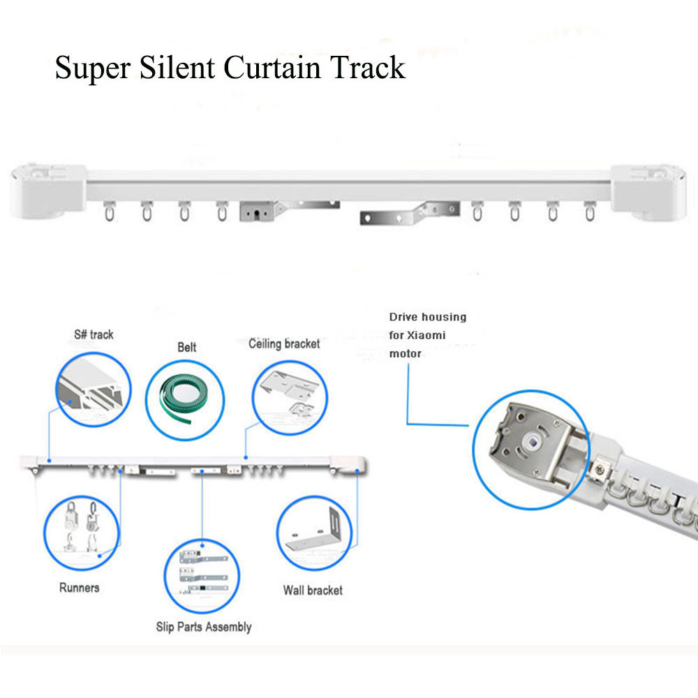 Super Quiet Motorized Curtain track, Smart home Motorized Curtain Track For aqara Motor&Dooya Motor