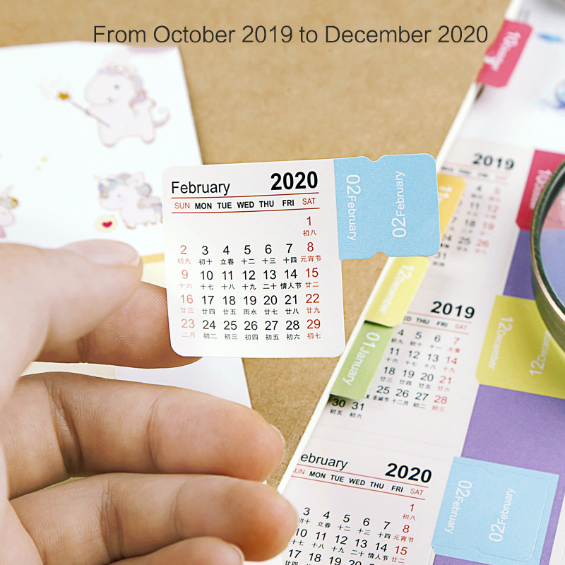 JIANWU 2019 2020 New Cartoon Color Calendar Sticker Washi Scrapbook Decoration Planner Diy Sticker Notebook Office Stationery