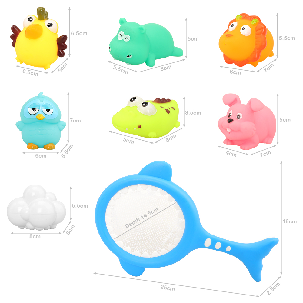 New Arrive 8 Items Kids Toy =1 Fishing Net + 1 Cloud + 6 Animal Toys Summer Pool Swimming Game For Kids Children Bath Kit Baby