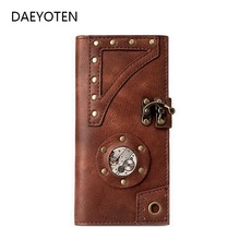 DAEYOTEN Retro Women Wallet 2019 Steam Gothic Men Wallets Rivet Ladies Purse Hot Sale Money Bag Long Wallet Card Holder ZM0362