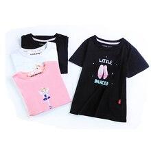 Summer Girls Printed Shirt Kids Full Cotton T Short Sleeve Top Children Sport Yoga Jogging Fitness Tees Black White Pink