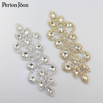 10pcs/lot 19*7cm DIY Crystal applique Rhinestone patches decoration wedding dress sewing Clothing bag shoes Accessories YH Z003